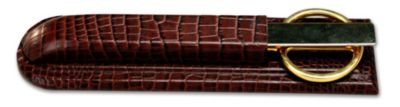 Crocodile Embossed Top-Grain Leather Library Set - Brown Crocodile