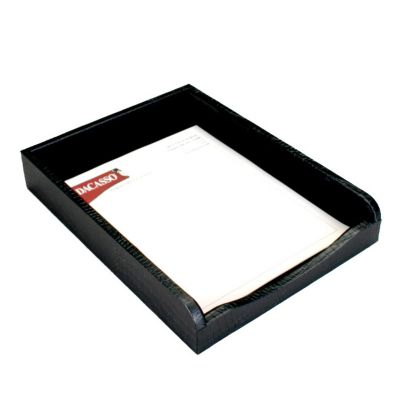 Crocodile Embossed Top-Grain Leather Front-Load Letter-Size Tray - Black Crocodile