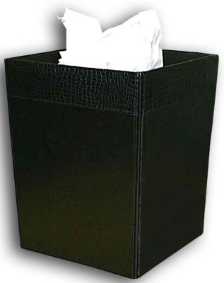 Crocodile Embossed Top-Grain Leather Square Waste Basket - Black Crocodile