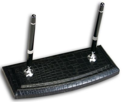 Crocodile Embossed Top-Grain Leather Double Pen Stand - Black Crocodile