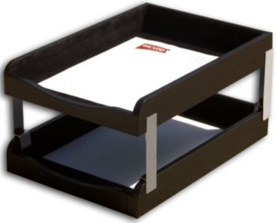 Crocodile Embossed Top-Grain Leather Double Front-Load Legal-Size Trays - Black Crocodile