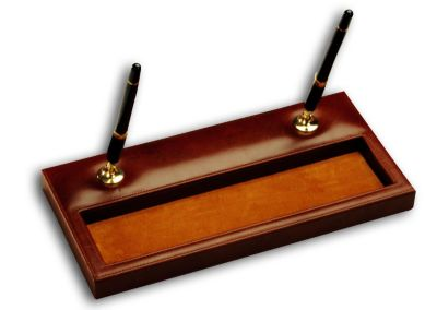 Top-Grain Leather Classic Double Pen Stand with Gold Trim - Mocha