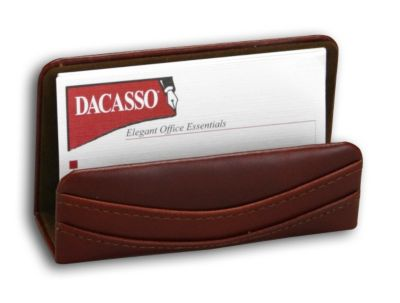 Top-Grain Leather Classic Business Card Holder - Mocha