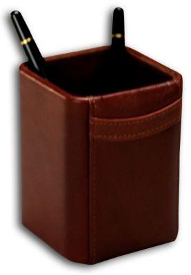 Top-Grain Leather Classic Pencil Cup - Mocha