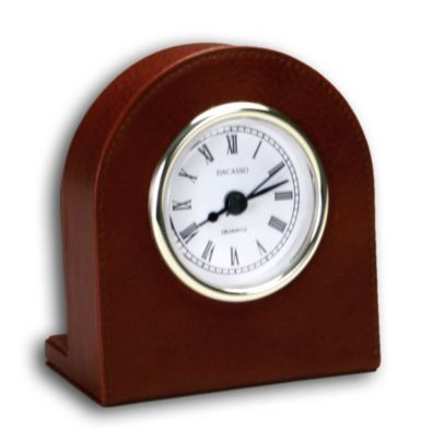 Top-Grain Leather Classic Desk Clock - Mocha with Gold Trim