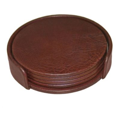 Top-Grain Leather Classic 4 Round Coasters with Holder - Mocha