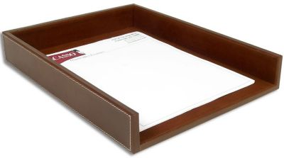 Rustic Top-Grain Leather Front-Load Letter-Size Tray - Brown