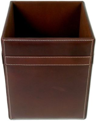 Rustic Top-Grain Leather Square Waste Basket - Brown
