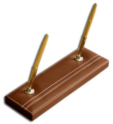 Rustic Top-Grain Leather Double Pen Stand - Brown