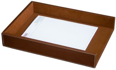 Rustic Top-Grain Leather Front-Load Legal-Size Tray - Brown