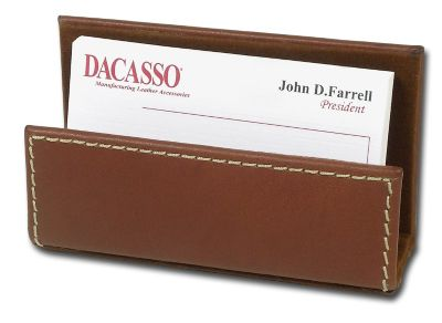 Rustic Top-Grain Leather Business Card Holder - Brown
