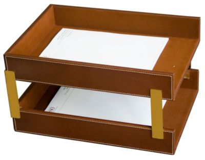 Rustic Top-Grain Leather Double Front-Load Legal-Size Trays - Brown