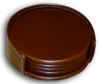 Rustic Top-Grain Leather 4 Round Coasters with Holder - Brown