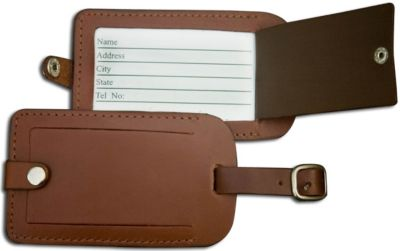 Top-Grain Leather Classic Luggage Tag - Brown
