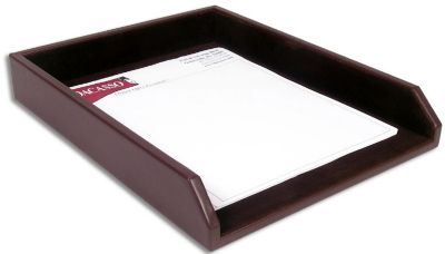 Top-Grain Leather Classic Front-Load Letter-Size Tray - Chocolate Brown