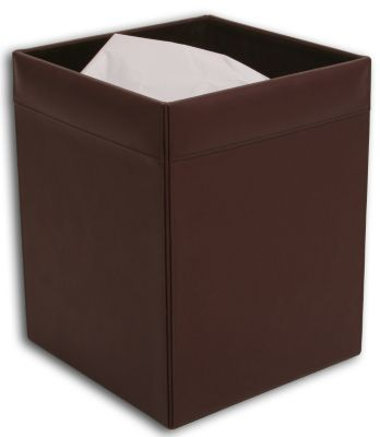 Top-Grain Leather Classic Square Waste Basket - Chocolate Brown