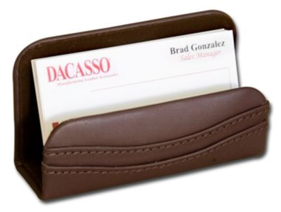 Top-Grain Leather Classic Business Card Holder - Chocolate Brown