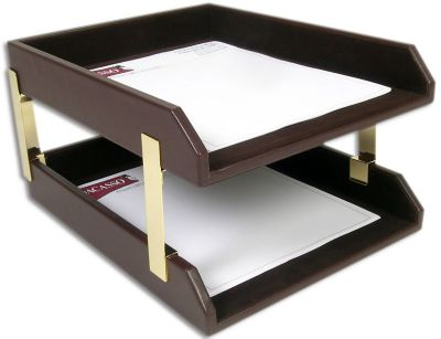 Top-Grain Leather Classic Double Front-Load Letter-Size Trays - Chocolate Brown