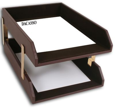 Top-Grain Leather Classic Double Front-Load Legal-Size Trays - Chocolate Brown