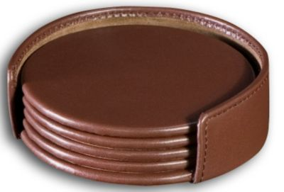 Top-Grain Leather Classic 4 Round Coasters with Holder - Chocolate Brown