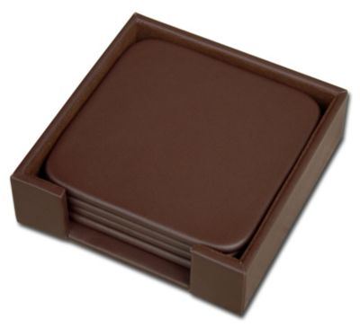 Top-Grain Leather Classic 4 Square Coasters with Holder - Chocolate Brown