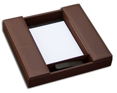 Top-Grain Leather Classic Conference Room Organizer - Chocolate Brown
