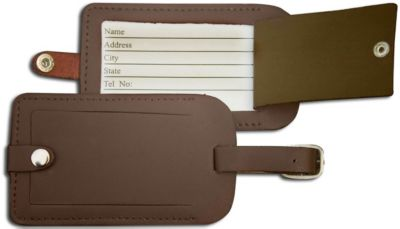 Top-Grain Leather Classic Luggage Tag - Chocolate Brown
