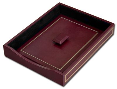 Top-Grain Leather 24kt Gold Tooled Front-Load Letter-Size Tray with Lid - Burgundy