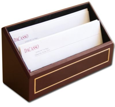Top-Grain Leather 24kt Gold Tooled Letter Holder - Burgundy