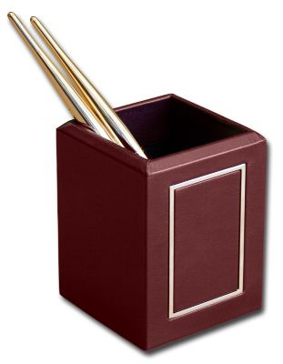 Top-Grain Leather 24kt Gold Tooled Pencil Cup - Burgundy