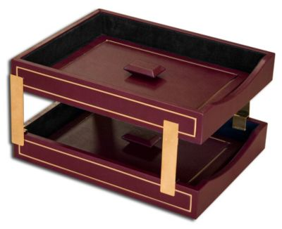 Top-Grain Leather 24kt Gold Tooled Double Front-Load Letter-Size Trays with Lids - Burgundy
