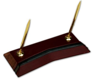 Contemporary Top-Grain Leather Double Pen Stand - Burgundy