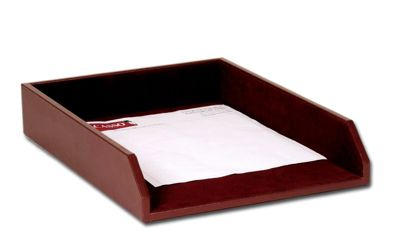 Top-Grain Leather Classic Front-Load Legal-Size Tray - Burgundy