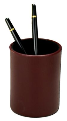 Contemporary Top-Grain Leather Round Pencil Cup - Burgundy