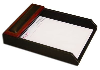 Wood & Top-Grain Leather Front-Load Letter-Size Tray - Rosewood