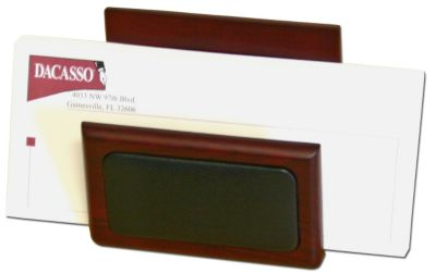 Wood & Top-Grain Leather Letter Holder - Rosewood