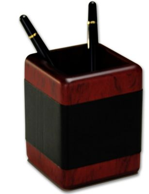 Wood & Top-Grain Leather Pencil Cup - Rosewood