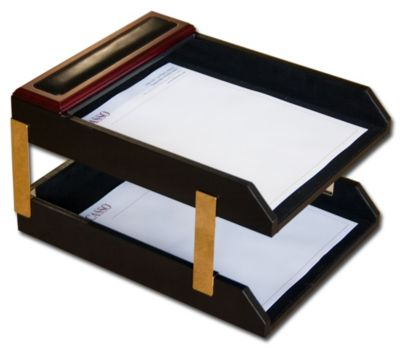 Wood & Top-Grain Leather Double Front-Load Letter-Size Trays - Rosewood