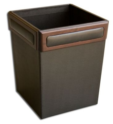 Wood & Top-Grain Leather Square Waste Basket - Walnut
