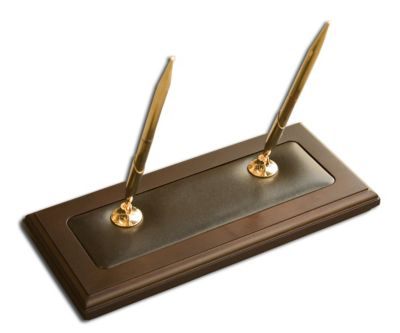 Wood & Top-Grain Leather Double Pen Stand - Walnut