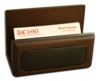 Wood & Top-Grain Leather Business Card Holder - Walnut