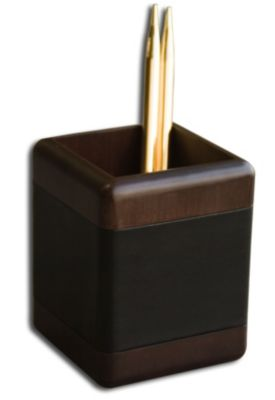 Wood & Top-Grain Leather Pencil Cup - Walnut