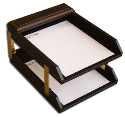 Wood & Top-Grain Leather Double Front-Load Letter-Size Trays - Walnut