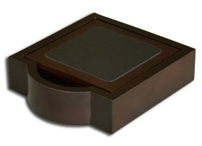 Wood & Top-Grain Leather 4 Coasters with Holder - Walnut