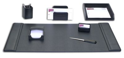 Top-Grain Leather 7-Piece Classic Desk Set - Black