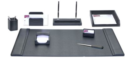 Top-Grain Leather 8-Piece Classic Desk Set - Black
