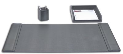 Top-Grain Leather 3-Piece Classic Desk Set - Black
