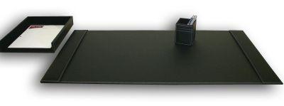 Rustic Top-Grain Leather 3-Piece Desk Set - Black