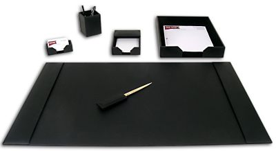 Econo-Line Bonded Leather 6-Piece Desk Set - Black