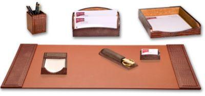 Crocodile Embossed Top-Grain Leather 7-Piece Desk Set - Brown Crocodile